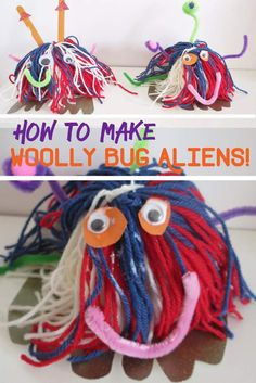 Space Craft: Making Woolly Bug Aliens. Planet and space craft for kids. Space homeschool ideas. Children's alien space themed craft. making things with wool!