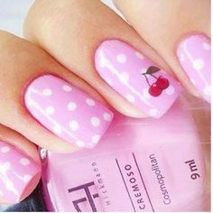 Cherry Nails with pink and white polka dots