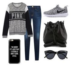 """""""Black and grey all day..."""" by danielle09-1 on Polyvore featuring Victoria's Secret, Rebecca Minkoff, Casetify and Le Specs"""