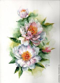 Купить Пионы белые - белый, пионы, букет, акварель, картина акварелью, цветы акварелью, акварель