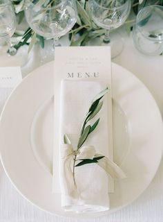 Gorgeous Organic Tuscany Wedding While on white accented by the prettiest touch of greenery makes this place setting special! The post Gorgeous Organic Tuscany Wedding appeared first on Hochzeit ideen. Wedding Reception, Our Wedding, Dream Wedding, Trendy Wedding, Long Table Wedding, Pavilion Wedding, Church Wedding, Reception Table, Reception Ideas