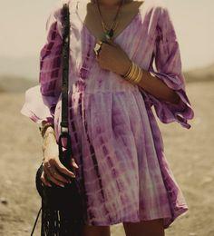 purple tie dye. tie dye dress. purple dress. Hippie Style ♥