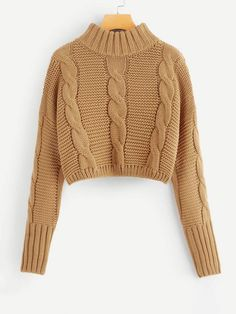 To find out about the Drop Shoulder Cable Knit Crop Jumper at SHEIN, part of our latest Sweaters ready to shop online today! Casual Sweaters, Cable Knit Sweaters, Cropped Knit Sweater, Winter Outfits, Casual Outfits, Teen Fashion, Fashion Outfits, Vogue Knitting, Knitwear