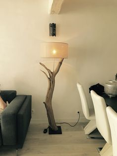 Wooden floor lamp with Cream collor lamp cover. made by GBHNatureArt. More info and sales at https://www.etsy.com/shop/GBHNatureArt?