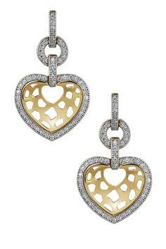 Sterling Silver Micro Pave Simulated Diamond Open Heart Earrings by Lafonn on @HauteLook