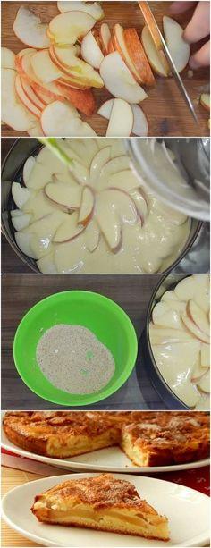 Torta de maçã prática, fica com uma torta incrivel #doce #doces #sobremesa #sobremesas #tortademaca #maca #sobremesademaca
