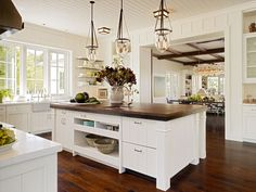 Love the white with the dark floors and dark counter on island