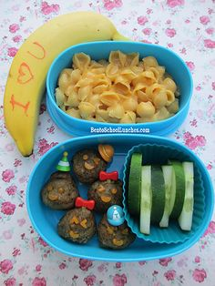 Bento Lunch: Meatballs, Macaroni and Cheese #bento #pasta #meatballs www.facebook.com/BentoSchoolLunches