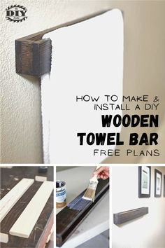 A towel bar is a good option if you have a lot of wall space near a tub or a shower. Towel bar allows a towel to dry without being bunched up, so it dries faster than a towel that might hang on a hook or a ring. By making your own towel bar, you have the option to make it as long or as short as you want.  #diy #freeplans #projects #homedecor #interior #furniture #woodproject #bathroom #doityourself #homeimprovement #towalbar #bathroomdecor #washroom