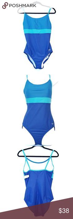Speedo | Blue One Piece Logo Swimsuit 12 Speedo one piece logo swimsuit in different shades of blue. Colorblock. No stains or holes.  Size: 12 Condition: New with tag. Smoke-free home.  Box S ♡B Speedo Swim One Pieces