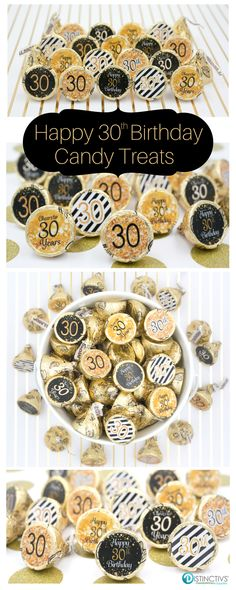 Black And Gold 30th Birthday Party Favor Stickers That Will Be A Sure Hit At Your