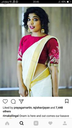 Indian Girl With Her Beautiful Curves - Wallpaper Artis India Onam Saree, Kasavu Saree, Kerala Saree, Handloom Saree, Indian Sarees, Kurti, Blouse Patterns, Blouse Designs, Set Saree