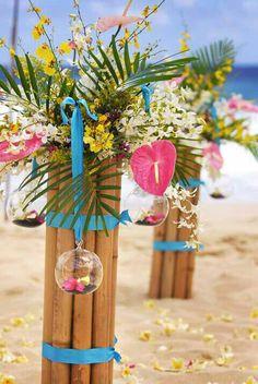 Image detail for -Luau Table Setting, Hawaiian Table Setting, Luau Table… Hawaiian Wedding Themes, Hawaiian Decor, Luau Wedding, Hawaii Wedding, Hawaiian Luau, Wedding Decorations Pictures, Wedding Reception Decorations, Wedding Ideas, Centerpiece Decorations