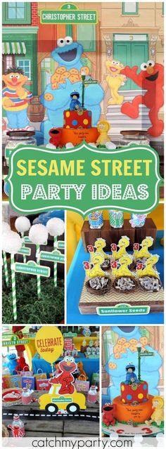 What a fun and colorful Sesame Street birthday party! See more party ideas at CatchMyParty.com!
