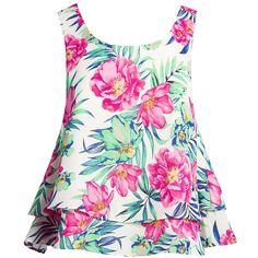 Sans Souci Floral layered top (1,955 INR) ❤ liked on Polyvore featuring tops, white, trapeze top, flower print top, layered tops, white sleeveless top and keyhole top