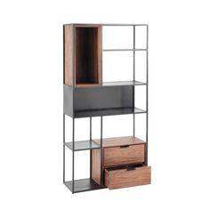 Lakeville Metal Distressed Wood Industrial Loft Bookcase ...