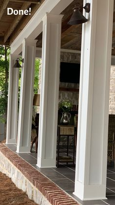 Do you want to learn how to dress up your porch columns? Our patio porch looked a little shabby and so we gave it a new look by wrapping the existing porch columns with Hardie board trim. The result was transformational! How To Build Porch Columns, Front Porch Posts, Porch Ceiling, Door Design Interior, Column Design, Building Plans, Exterior Paint, Yard Ideas, Curb Appeal
