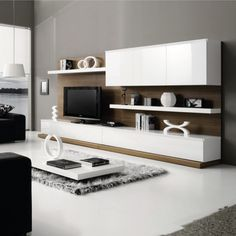 Creating modern elegance in a house or public building is a great way to improve the overall design. These 10 beautiful and elegant interior designs will turn any building into dream property. Tv Unit Design, Tv Wall Design, House Design, Muebles Rack Tv, Wall Shelving Units, Wall Units, Tv Furniture, Living Room Tv, Best Interior Design