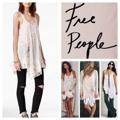 """Free People She Swings Slip,Dress/Tunic.  NWT. Free People She Swings Slip Dress/Tunic, 100% rayon, lace trim 100% nylon, washable, 23"""" armpit to armpit (46"""" all around), 31"""" shortest center length, 34"""" longest length, a twist on FP classic, this extra swingy slip features a sweet print with lace inserts and an uneven hem, sheer, sleeveless, pullover style, tag has Ivory combo however true color is a soft pink, measurements are approx.  No Trades... Free People Dresses Mini"""
