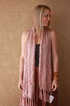 Crochet multi-colored scarf made from fine lace mohair yarn.
