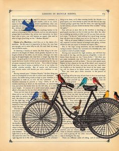 Bicycle Art Print Birds riding on a bike original art vintage dictionary page…