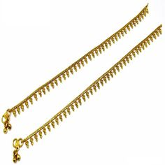 Ethnic Pakistani Indian Gold Plated Bollywood Payal Anklet Pair Curved Edge with Soft Bells