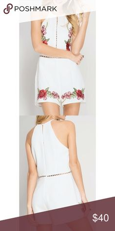 Romper with red rose embroidery White Romper with red rose embroidery detail Pants Jumpsuits & Rompers