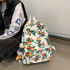 Travel Backpack, Fashion Backpack, Fruit Print, School Bags, Drawstring Backpack, Preppy, Peach, Canada, Backpacks