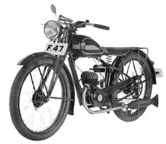 "After World War II, Husqvarna had the capacity to directly start producing high-quality, low-cost, 2-stroke road motorcycles. In 1946 launched the legendary Model 24 ""Svartkvarna"". It had a 118cc engine with cross flush with an output of 3.5 hp. http://kentsundin.se/Hemsidan/Bilder/Motorcyklar/Husqvarna/Svartqvarna_Modell_24.jpg"
