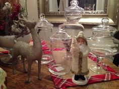 Holiday decor with Apothecary jars to fill with candies! A must have for any holiday theme!