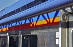 As shadows fall; Temple University train station; SEPTA; Philadelphia, Pennsylvania, USA.  March 2015.