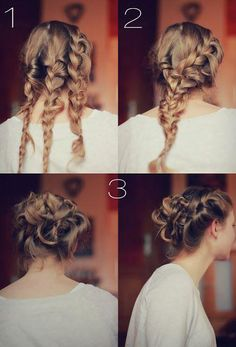 Three Braid Updo - Divide hair into 3 sections and braid them. Then braid the 3 braids together. Finally twist and pin up into a updo. Braided Hairstyles Updo, Braided Updo, Diy Hairstyles, Pretty Hairstyles, Updo Hairstyle, Hairstyle Ideas, Bun Updo, Hairstyle Tutorials, Headband Updo