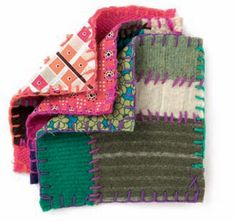 Potholders from felted wool sweaters