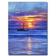 David Lloyd Glover 'Salmon Trawler at Sunrise' Modern Canvas Art