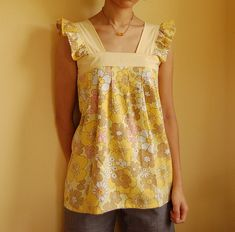 Top from a vintage sheet - pattern by Sew, Mama, Sew.  I think it had this tablecloth......