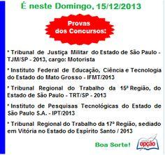 Convocação para Provas do dia 15 / 12 / 2013 - parte II