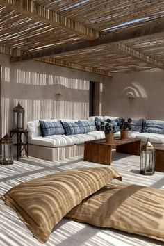 Calm Outdoor Living Room with Wood Furniture