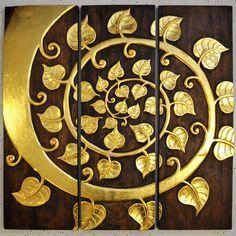 Relief Teak Holz Buddha Baum Spirale dreiteilig 90x90cm