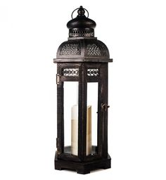 All-Weather Black Wood and Metal Flameless Candle Lantern