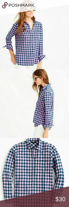 J Crew gingham popover shirt in blue and lilac Cotton. Long roll-up sleeves. Chest pocket. J. Crew Tops Button Down Shirts