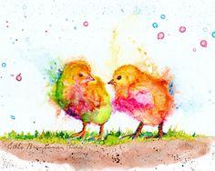 Baby chicks bird art, baby bird nursery art, child room wall art, animal art, chicken art, colorful chicken art, farm animal art by EllenBrennemanStudio on Etsy https://www.etsy.com/listing/398813455/baby-chicks-bird-art-baby-bird-nursery