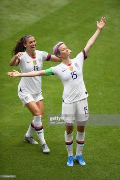Megan Rapinoe of the USA celebrates with teammate Alex Morgan after. Megan Rapinoe, Fifa Women's World Cup, Fc Chelsea, Women's Football, College Football, Alex Morgan, Tennis, Play Soccer, Badass Women