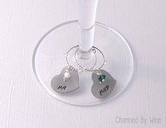 Wedding Wine Charm Hearts Mr and Mrs Hand by CharmedByWine