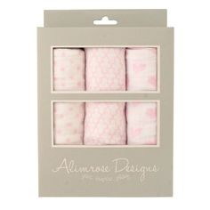 100% Cotton Muslin Swaddle Set (Star/Mosaic/Bunny Pink)