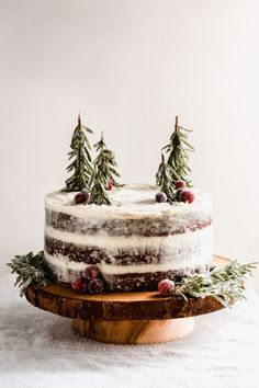 Gingerbread Cake with Mascarpone Cream Cheese Frosting - Prepare to wow your guests with this show-stopping holiday dessert! Made with the creamiest frosting, smoothed out between three layers of deeply-flavored gingerbread cake! Add some simple sugared cranberries + fresh rosemary for trees to complete this winter wonderland cake. #gingerbread #cake #gingerbreadcake #holidaydessert #christmasdessert #sugaredcranberries #rosemarytrees #holidaydessert #holidaybaking | bluebowlrecipes.com
