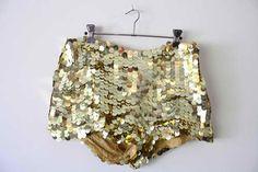 Gold sequin hot pants...