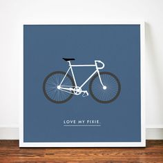 Bike print poster Love my Fixie art Fixed by WeaversofSouthsea, $19.00