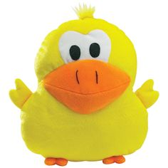 Zanies Stuffed Duck Dog Toy with a squeaker.  Great to cuddle with, fetch or chew.  Dogs love these!
