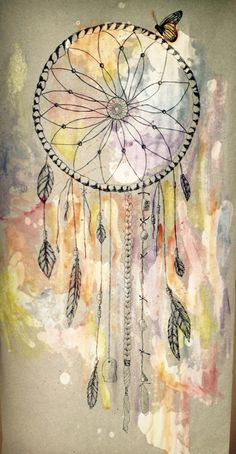 Drawing watercolor dream catcher