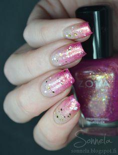 Lovely Pink gradient + glitter